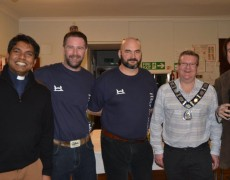 Reverend Sylvester Liyanage with Team SRC's Steve Collins and Shane Willmoth, The Mayor Mark Shaw and Councillor Peter Hudson